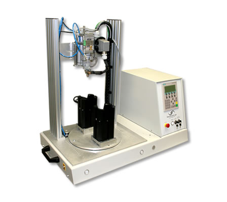 offener Drehteller an Laser-Heißverstemmsystem